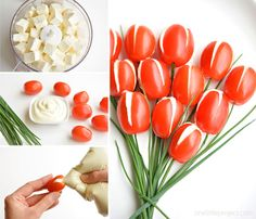 One Little Project|These cherry tomato tulips are SO PRETTY and they taste amazing! They'd be a great appetizer for a party or even Mother's Day! And the whipped feta filling is soooo good!