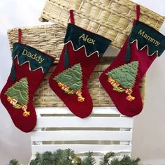Personalised Christmas Stocking. This stocking is beautifully embroidered with your name and features a Christmas Tree and gifts with sparkly embellishments and bows. WowWee.ie | €20.00