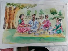 Drawing Lessons, Painting Lessons, Art Lessons, Scenery Paintings, Indian Paintings, Moon Painting, Sketch Painting, Easy Drawings For Kids, Drawing For Kids