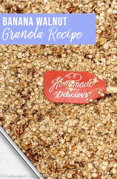homemade banana granola is made with lots of spices, pecans, walnuts Nut Recipes, Brunch Recipes, Breakfast Recipes, Sweets Recipes, Breakfast Ideas, Savory Breakfast, Breakfast Bars, Sweet Breakfast, Banana Coconut