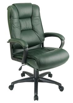 Office Star Work Smart EX5162-G16 Executive High Back Green Glove Soft Leather Chair with Padded Loop Arms