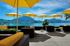 Lake Lounge at the Beatus. Open from July to September. Luxury Accommodation, Hotels, Switzerland, To Go, Lounge, Patio, Beautiful, Places, Outdoor Decor