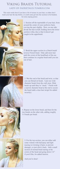 "lady-of-faerietales: ""Viking braids tutorial, inspired by History Channel's Vikings. Please excuse my horrible roots and lack of toner. """