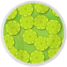 Citrus slices Round Beach Towel by Lenka Rottova. The beach towel is in diameter and made from polyester fabric. Beach Towel Bag, Beach Mat, Fruit Food, Green Fruit, Lemon Yellow, Summer Essentials, Household Items, Towels, Outdoor Blanket