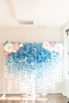 The Original Paper Circle Garland Backdrop: Blue Ombre Circle Garland, Diy Garland, Blue Ombre, Diy Paper, Tissue Paper, Paper Flowers, Backdrops, Balloons, Paper Backdrop