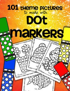 Dot Markers 101 Theme Printables  - no prep. Includes pictures for many themes used in Early Childhood Education programs, holidays, seasons, vehicles etc. Dab on the spots with a circle /dot marker, bingo dauber, or similar. Can also use garage sale stickers, pasted collage material, or a finger dipped in paint etc. Useful for several developmental levels.