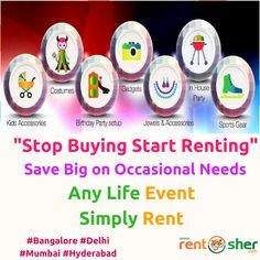 Save big on occasional needs by hiring them through RentSher. RentSher provides wide range of products for your requirements at every stage of life like #Strollers, Baby Car Seats, Kids #Toys #baby Products, #Costumes, Hobby rentals like #Camera, Camping Gears, #Bikes, office equipment like #Laptops, #Desktops, #furniture, home and Kitchen #appliances, #wheelchairs, gaming consoles, Hospital beds and many more on rent with home delivery and pickup across #Bangalore #Delhi #Hyderabad #Mumbai…