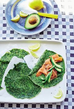Spelt and spinach crepes with avocado - get recipe here: http://www.dailymail.co.uk/home/you/article-4092150/Happy-eating-Spelt-spinach-crepes-avocado.html