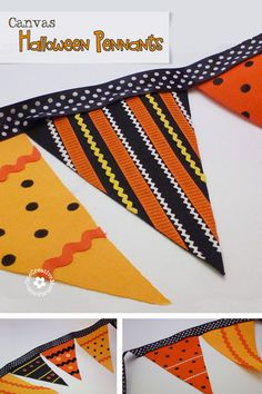 Easy Canvas Halloween Pennant Tutorial {No Sew!} OneCreativeMommy.com #halloweendecor #halloween