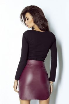 Fustă scurtă IVON - roşu – Misty.ro Legging, Short Skirts, Leather Skirt, Trousers, Elegant, Blouse, Classic, Long Sleeve, Sexy