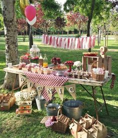 OF JULY AND BIRTHDAY PICNIC PARTY IDEAS Who doesn't love red and white checkered gingham at any outdoor birthday party or at a of July celebration? It's easy enough to add a little blue into your Independence Day party or barbecue with a … Picnic Party Decorations, Picnic Themed Parties, Picnic Theme Birthday, Baby Birthday, Birthday Ideas, Bbq Party, First Birthday Parties, First Birthdays, Retirement Parties