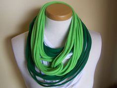 Green and White T-Shirt Scarf. $18.00, via Etsy.