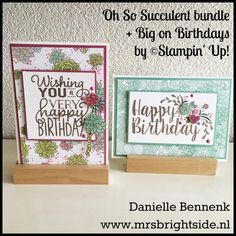 Birthday cards with oh so succulent bundle and big on birthdays stamp set spring/Summer catalog by Stampin' Up!