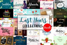 Last Years Collections Bundle  The best-selling fonts here are your chance to get a large number of best-selling fonts.  This package is the normal price of $92. Now get all 10 fonts with super cheap prices for $8 only, with limited time. Don't miss it, take it today! Character Letters, Character Map, Wedding Fonts, Wedding Invitations, Typography Fonts, Cursive Fonts, Alphabet Fonts, Handwritten Fonts, Calligraphy Fonts