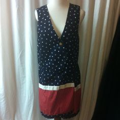 "Perfect for 4th of July Outfit Wrap skirt with matching vest. Navy blue with stars and anchors  red and white striped contrasting fabric.  Vest is lined. Skirt is not. Skirt has a button on one side and ties at other. Bust for vest - 38"". Waist - 32"". 100% cotton. Machine wash inside out barbara gerwit Skirts Skirt Sets"