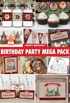 Everything you need to throw a spectacular DIY birthday party for your little one! Featuring a woodland fox, moose, and bear with buffalo plaid and woodgrain accents. All files are available for INSTANT DOWNLOAD immediately following purchase. Get started on your DIY party today! Designs by Pretty Paper Studio.