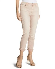 Fit nicely and a nice color that I didn't have in my wardrobe. Chico's So Slimming Blush Girlfriend Crop Jean #chicos