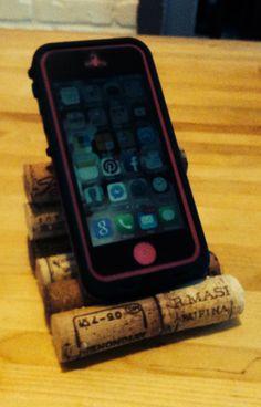 Wine cork cell phone holder