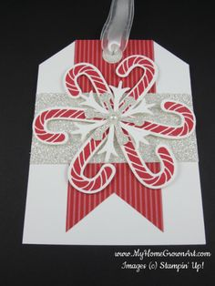 Candy cane & snowflake Christmas gift tag—lots of options to customize with a couple basic shapes❣ Deena Boos • Stampin Up • myhomegrownart.com