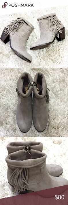 """Sam Edelman Fringe Booties Taupe Sam Edelman fringe suede ankle booties. Size 8.5. Heel measures at 2"""". Zip up feature on inside of Bootie. They are kind of a taupe greyish color. Feel free to ask questions!  Sam Edelman Shoes Ankle Boots & Booties"""