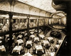 The grand stairway/entrance and the dining salon of the SS Paris. Mystery Dinner Theater, Dinner Theatre, Grand Stairway, Stefan Zweig, Parisian Cafe, Mysterious Places, Indochine, His Travel, Back In The Day