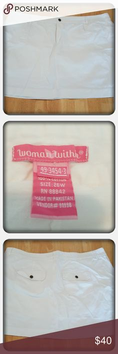 NWOT Woman's White Denim Skort Size 26W Brand New Never Worn Woman's White Denim Skort Size 26W From Woman Within. This Is Perfect For Spring & Summer There Are Front & Back Pockets As Well As Shorts Attached Underneath Looks Cute. This May Need To Be Ironed Since Being In Storage Otherwise In Excellent Condition 🚫 PAYPAL 🚫 TRADES 🚫 LOWBALLING REASONABLE OFFERS CONSIDERED ONLY ❤ Woman Within Skirts