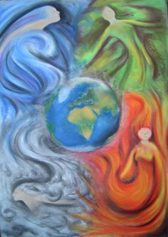 Elements by Laiyla on DeviantArt 5 Elements Of Nature, Wiccan Art, Spiritual Paintings, Elemental Powers, Element Symbols, Spiritual Images, Chalkboard Drawings, Book Of Kells, Goddess Art