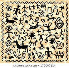 Arte Tribal, Tribal Art, Ancient Symbols, Ancient Art, Stencil, Art Indien, Art Pariétal, Cave Drawings, Afrique Art