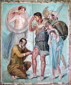 """Aeneas having his wounds dressed in the presence of Venus. From a wall painting in Pompeii."" Museo della Civilta, Rome"