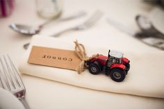Tractor wedding favours. Photography by Andy Hook #wedding #favours