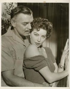 Portrait of Clark Gable and Ava Gardner in Mogambo directed by John Ford, 1953. Photo by Virgil Apger
