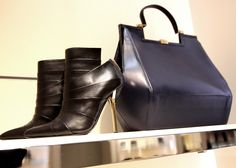 #Vionnet black ankle boots with metallic heel. #Vionnet blue and black leather tote, art deco style, from autumn winter 2013. http://www.wunderl.com