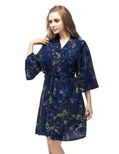 Skyfitting Women's Cotton Short Kimono Robe, Short Length Bridesmaid Robes ** To view further for this item, visit the image link.