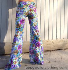 Floral stretch crochet lace flow pants  Festival/Hooping/Dance/Movement/Nepalese/Cotton/Custom/Apparel/Bell bottoms