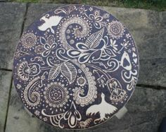 Custom Wooden Stool With Pyrography Design