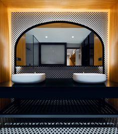 Industrial apartment located in India, designed by Fadd Studio. Loft Interiors, Moroccan Interiors, Moroccan Decor, Riad, Industrial Apartment, Bathroom Interior Design, Mirror, Studio, House