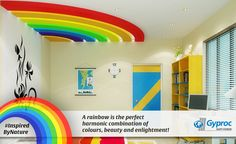 Take a look at this beautiful, rainbow-inspired designer ceiling!
