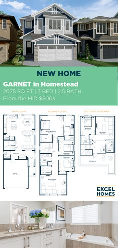 Always sunny and always bright, our Garnet model in Homestead features a 3 bedrooms, 2.5 bathrooms and 2075 sq. ft. of living space for you and your growing family. Personalize your model and check out the video tour on our website! #NewModel #CalgaryHomeBuilder #CalgaryHome #AlbertaRealEstate #3BedroomHome #FloorPlan 3 Bedroom Home Floor Plans, House Floor Plans, New Model, Homesteading, Garnet, Building A House, Living Spaces, Real Estate, How To Plan
