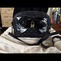 Black Betsey Johnson purse Great condition black Betsey Johnson purse I have matching wallet listed as well all together or separate price listed is all together Betsey Johnson Bags