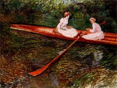 Global Gallery 'The Pink Rowing Boat' by Claude Monet Painting Print on Wrapped Canvas Size: Monet Paintings, Impressionist Paintings, Landscape Paintings, Claude Monet, Artist Monet, Art Japonais, Pierre Auguste Renoir, Oil Painting Reproductions, Manet