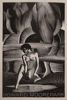 Ex Libris for Howard Moorepark by American artist & printmaker Paul Landacre (1893-1963). Woodcut. via Thomas Shahan 3 on Flickr