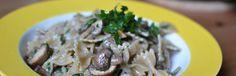 vegan farfalle with autumnal mushroom sauce