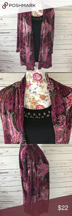 Plus Size - Jaclyn Smith 3X pink and black blouse Jaclyn Smith 3X pink and black blouse Has the appearance of a camisole and cardigan, but it is a one piece shirt and all attached. Jaclyn Smith Tops Blouses