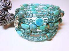 JEWELRY BRACELET Blue Boho Wrap Bracelet Beaded Stacking Cuff Assorted Blue Beads Boho Style Boho Chic Gift Ideas For Her FREE SHIPPING #bracelet #blue #boho #bohochic #wrapcuff #cuff #giftideas #fashion #giftforher #style #gifts