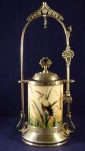 Victorian Pickle Castor with Hand Painted Egret on Milk Glass, *SOLD*