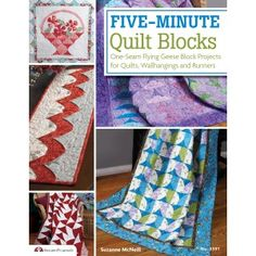 Five-Minute Quilt Blocks - Learn to make beautiful quilts in no time with this clever one-seam technique. The flying geese quilt block is a traditional favorite and now with Suzanne McNeill's clever technique, quilters can make each square in only 5 minutes. Inside this book, Suzanne will show you how to create quilt blocks with only one seam and how to piece the blocks together to make 12 great projects. From table runners to wall hangings to traditional quilts and more-even beginners will ...