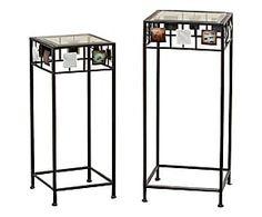 Set di 2 tavolini in metallo e vetro Elliot -