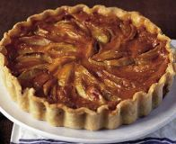 Apple takes centre-stage in this autumnal tart, while the custard adds a rich, creamy texture, from BBC Good Food Tart Recipes, Dessert Recipes, Dessert Tarts, Dessert Dishes, Baking Recipes, Portugese Custard Tarts, Portuguese Tarts, Onion Tart, Thing 1