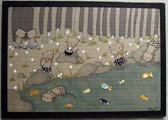 Les loutres - Illustration sur carton - 19x27,5 cm - Tous droits réservés - Miod illustration