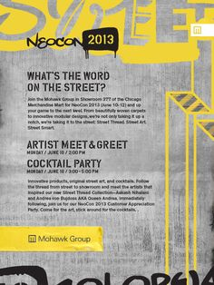 Are you coming? #NeoCon13 space 377 Artist Meet & Greet, Cocktails, what more is there? #NeoCon13party #StreetThread